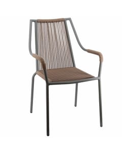 Stackable Roped Outdoor Chair with Arms and Black Aluminum Frame in Tan