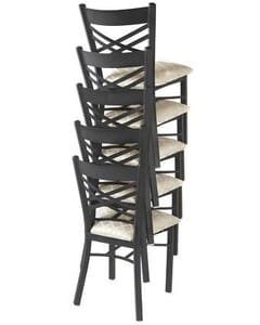 Stackable Metal Double Cross Back Chair