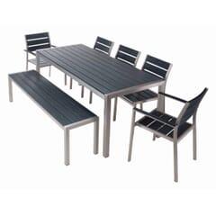 Brushed Pewter Teaks & Aluminum Frame Table Set