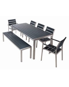 Brushed Pewter Teaks & Aluminum Frame Table Set