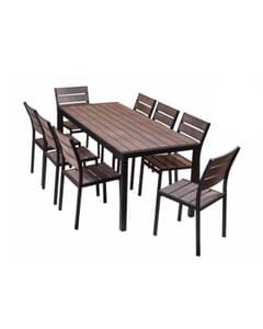 Brushed Brown Teaks & Black Frame Table Set