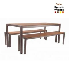 Tan Teak Slats & Aluminum Frame Table and Benches
