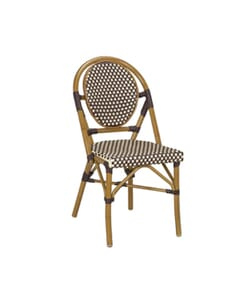 Synthetic Wicker & Bamboo Outdoor Chair with Rounded Back (Beige & Brown)