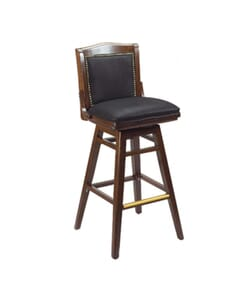 Fully Upholstered Solid Wood Swivel Schoolhouse Bar Stool